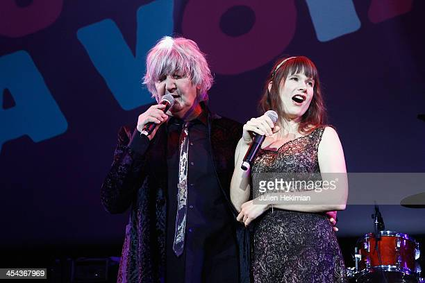 Jacques Higelin and Camille perform on stage during the 50th anniversary celebration of french radio France Inter at La Gaite Lyrique on December 8...