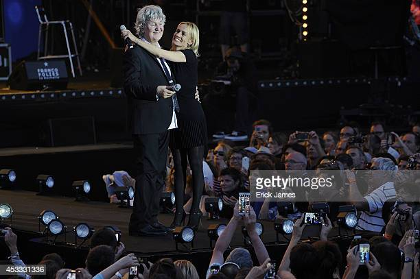 Jacques Higelin and Sandrine Bonnaire perform at the 30th Francofolies de La Rochelle Opening Night Concert 'Nuit Les Copains D'Abord' on July 10...