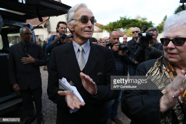 Jacques Jenvrin the companion of the late French actress Danielle Darrieux applauds as he attends her funeral service with others in BoisleRoi...