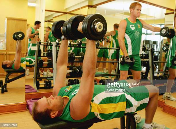 Jacques Kallis and Shaun Pollock lift weights during the South Africa gym training session on April 19 2007 in Bridgetown Barbados