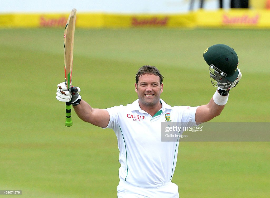 <a gi-track='captionPersonalityLinkClicked' href=/galleries/search?phrase=Jacques+Kallis&family=editorial&specificpeople=184509 ng-click='$event.stopPropagation()'>Jacques Kallis</a> of South Africa celebrates his 45th century in his final test match during day 4 of the 2nd Test match between South Africa and India at Sahara Stadium Kingsmead on December 29, 2013 in Durban, South Africa.