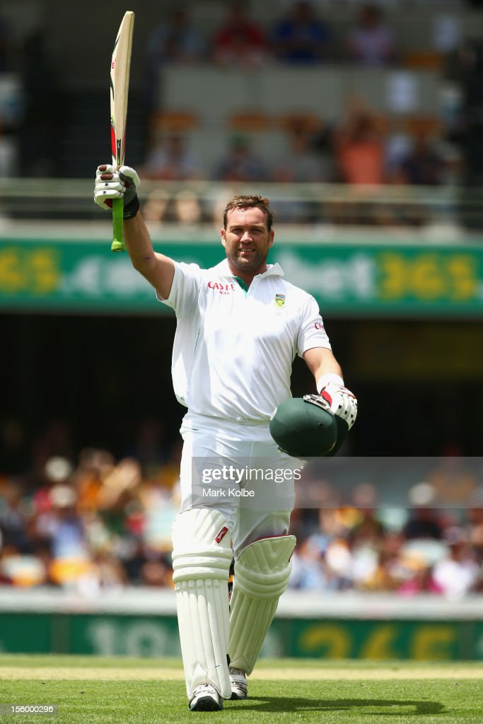 Jacques Kallis of South Africa celebrates his century during day three of the First Test match between Australia and South Africa at The Gabba on November 11, 2012 in Brisbane, Australia.