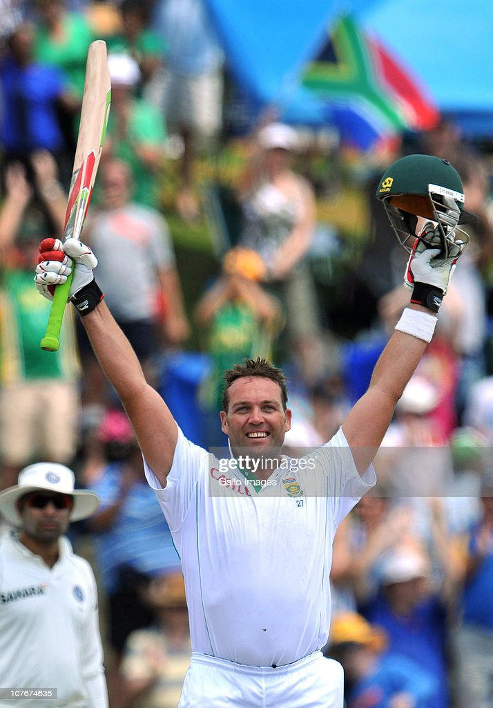Jacques Kallis of South Africa celebrates his maiden double century and the first 200 runs by a batsman scored at this venue, on day 3 of the 1st Test match between South Africa and India, at SuperSport Park on December 18, 2010 in Centurion, South Africa