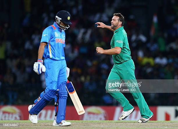 Jacques Kallis of South Africa celebrates the wicket of Virat Kohli of India after he was caught by AB de Villiers during the ICC World Twenty20 2012...