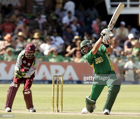 Jacques Kallis of South Africa plays a shot as keeper Denesh Ramdin looks on during the 3rd ODI between South Africa and West Indies held at Sahara...