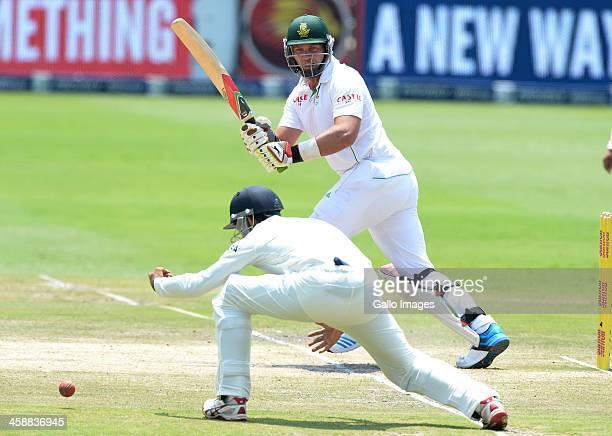 Jacques Kallis of South Africa plays past shortleg during day 5 of the 1st Test match between South Africa and India at Bidvest Wanderers Stadium on...