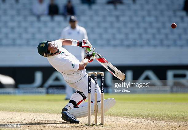 Jacques Kallis of South Africa tries to get out of the way of a bouncer only to be caught out during day 5 of the 2nd Investec Test Match between...