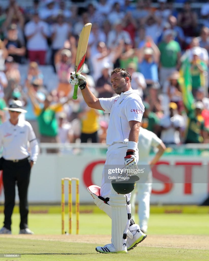 Jacques Kallis of the Proteas celebrates after becoming only the fourth batsman in history to score 13,000 runs in Test cricket during day 1 of the 1st Test between South Africa and New Zealand at Sahara Park Newlands on January 02, 2013 in Cape Town, South Africa.