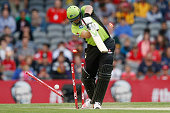 Jacques Kallis of the Sydney Thunder is bowled by James Pattinson of the Melbourne Renegades during the Big Bash League match between the Melbourne...