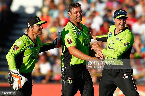 Jacques Kallis of the Thunder celebrates after taking the wicket of Adam Voges of the Scorchers during the Big Bash League match between the Perth...