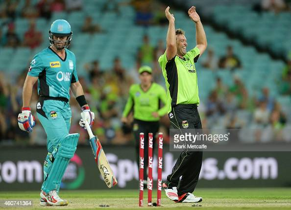 Jacques Kallis of the Thunder celebrates taking the wicket of Dan Christian of the Heat during the Big Bash League match between the Sydney Thunder...