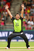 Jacques Kallis of the Thunder celebrates taking the wicket of Michael Lumb of the Sixers during the Big Bash League match between the Sydney Thunder...