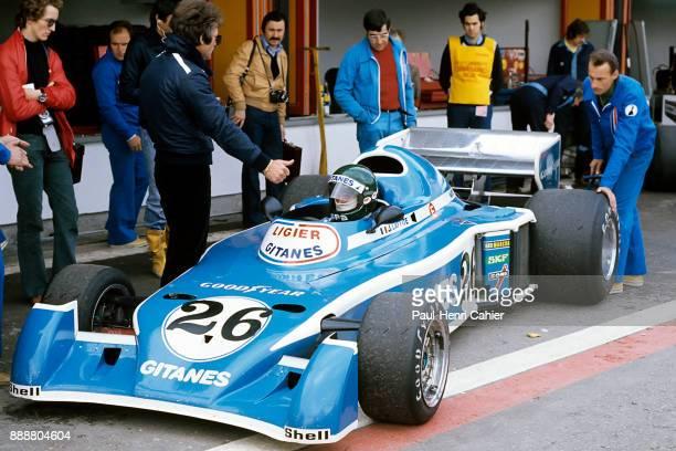 Jacques Laffite Gérard Ducarouge LigierMatra JS5 Grand Prix of Spain Circuito del Jarama 02 May 1976 Jacques Laffite with Ligier Chief Designer...