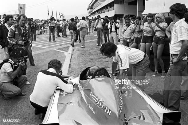 Jacques Laffite Gérard Ducarouge LigierMatra JS9 Grand Prix of France Circuit Paul Ricard 02 July 1978 Jacques Laffite with Ligier Chief Designer...