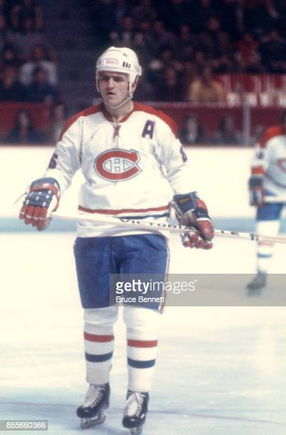Jacques Lemaire of the Montreal Canadiens skates on the ice during an NHL game circa 1976 at the Montreal Forum in Montreal Quebec Canada