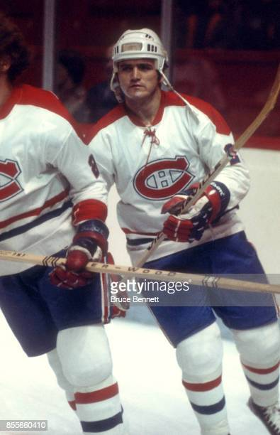 Jacques Lemaire of the Montreal Canadiens skates on the ice during warmups before an NHL game circa 1976 at the Montreal Forum in Montreal Quebec...