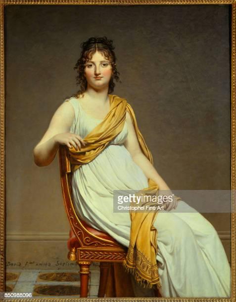 Jacques Louis David Portrait of Madame Raymond Verninac Eugene Delacroix's Sister 1799 Oil on canvas 145 x 112 m Paris musee du Louvre