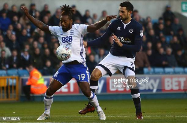 Jacques Maghoma of Birmingham City and Conor McLaughlin of Millwall battle for possession during the Sky Bet Championship match between Millwall and...