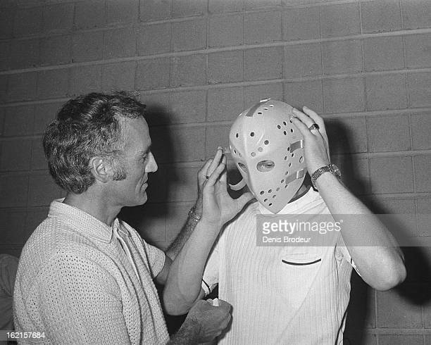 Jacques Plante has a conversation with Vladislav Tretiak of the Soviet Union prior to the start of the Summit Series circa the 1972 in Montreal...