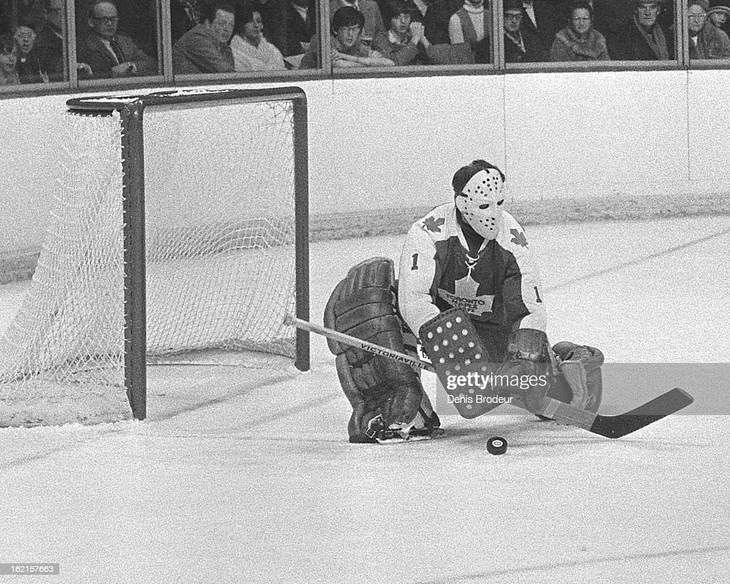 <a gi-track='captionPersonalityLinkClicked' href=/galleries/search?phrase=Jacques+Plante&family=editorial&specificpeople=227203 ng-click='$event.stopPropagation()'>Jacques Plante</a> #1 of the Toronto Maple Leafs blocks the puck during a game at the Montreal Forum circa 1971 in Montreal, Quebec, Canada.