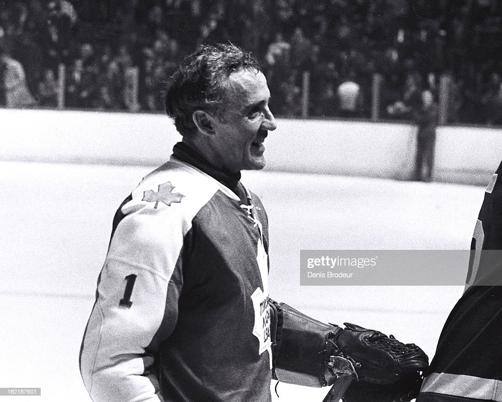 <a gi-track='captionPersonalityLinkClicked' href=/galleries/search?phrase=Jacques+Plante&family=editorial&specificpeople=227203 ng-click='$event.stopPropagation()'>Jacques Plante</a> #1 of the Toronto Maple Leafs looks on after a game at the Montreal Forum circa 1972 in Montreal, Quebec, Canada.