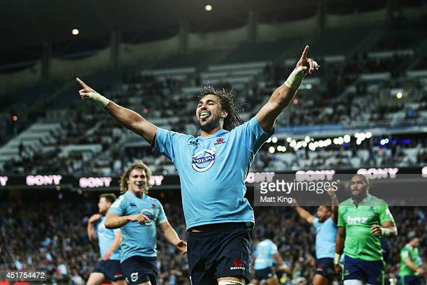 Jacques Potgieter of the Waratahs celebrates scoring a try during the round 18 Super Rugby match between the Waratahs and the Highlanders at Allianz...