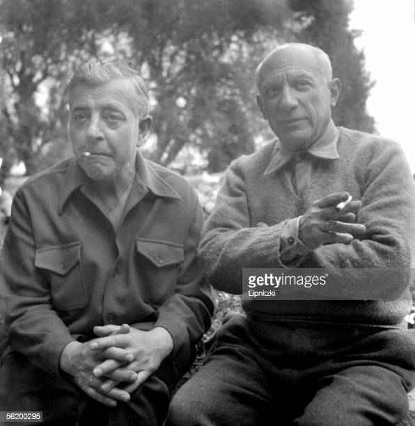 Jacques Prevert and Pablo Picasso Cannes april 1951