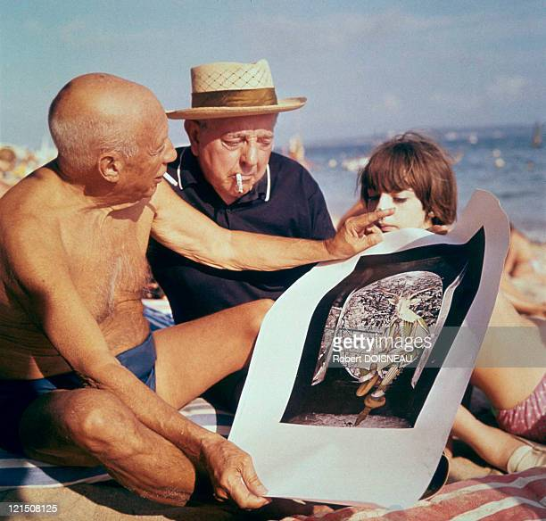 Jacques Prevert Picasso And Michele In Antibes In 1963