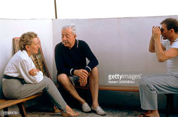 Jacques Prevert With His Wife Janinie And Cellist Maurice Baquet In Antibes In 1963