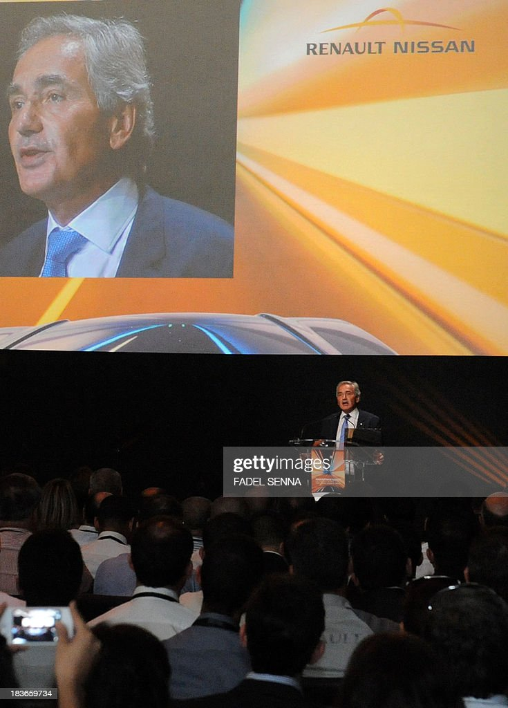 Jacques Prost, General Director of the Renault group in Morocco, gives a press conference during the opening ceremony of the inauguration of the second phase of the Renault factory in Tangier on October 8, 2013. This second unit, which will oversee the production of the Dacio Sandero car, will allow the french manufacturer to double its production, to reach 340,000 vehicles per year in 2014, which will make Renault Tangier 'the biggest factory' of its type in Africa, according to its managers.