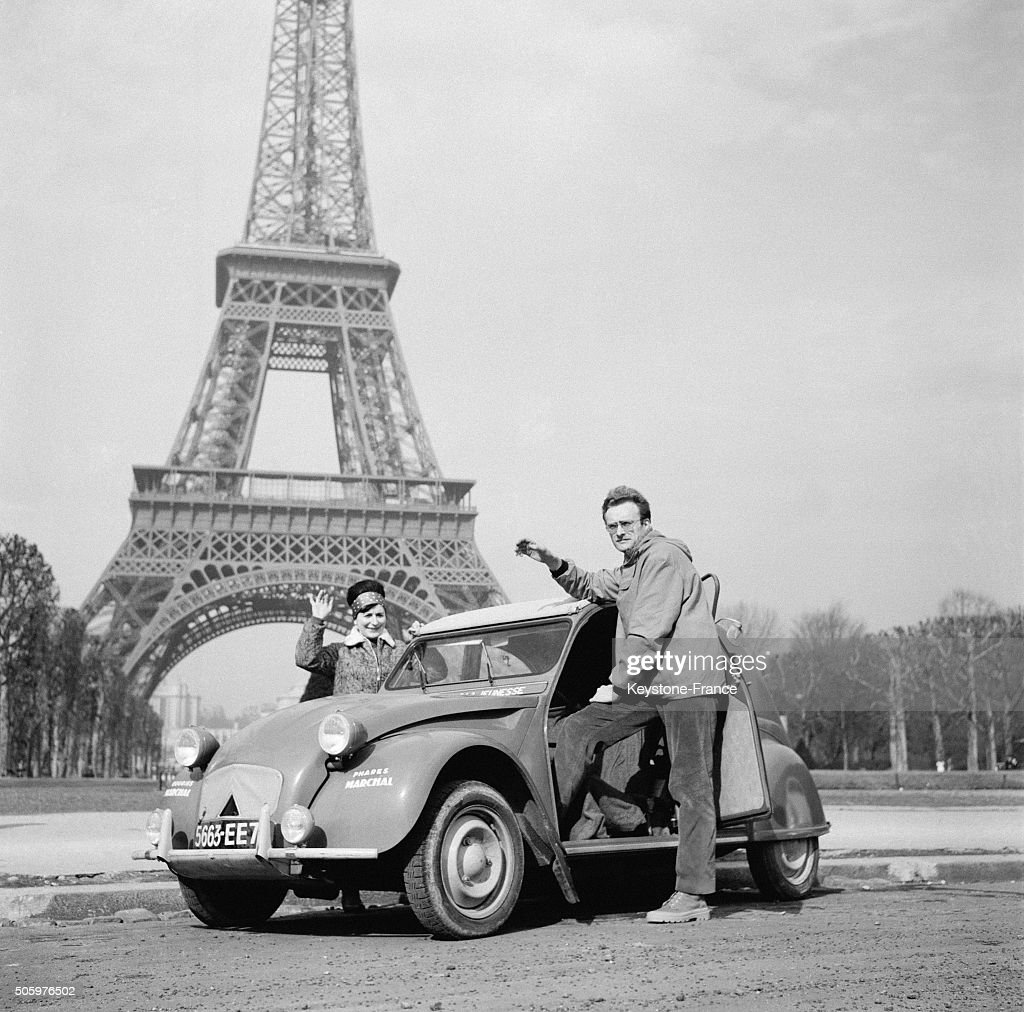 jacques rigaux and wife leave paris aboard this citroen 2cv for a 50 pictures getty images. Black Bedroom Furniture Sets. Home Design Ideas