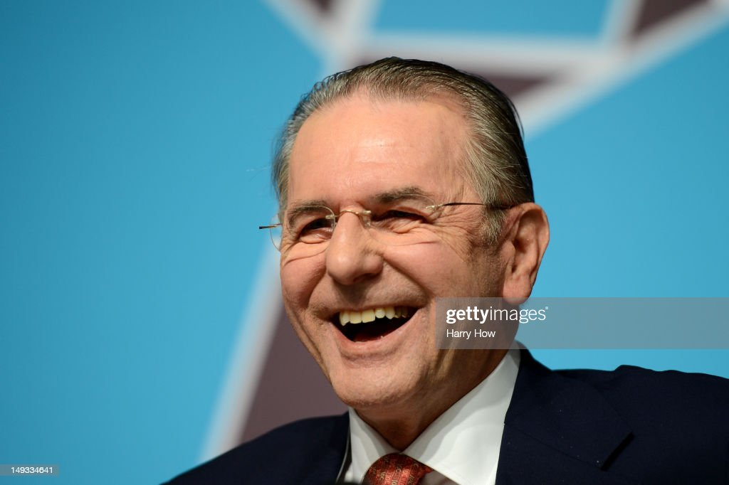<a gi-track='captionPersonalityLinkClicked' href=/galleries/search?phrase=Jacques+Rogge&family=editorial&specificpeople=206143 ng-click='$event.stopPropagation()'>Jacques Rogge</a>, President of the International Olympic Committee laughs during an IOC Press Conference ahead of the London 2012 Olympic Games at the Main Press Centre in Olympic Park on July 27, 2012 in London, England.