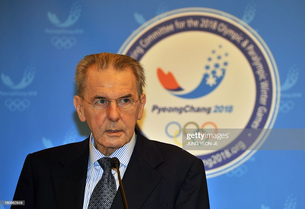 Jacques Rogge, president of the International Olympic Committee (IOC), speaks during a signing ceremony of the Marketing Plan Agreement for the 2018 Pyeongchang Winter Olympics, in Seoul on January 30, 2013. The Pyeongchang Organizing Committee and the IOC signed an agreement on January 30, for the implementation of the marketing program for the South Korean alpine town.