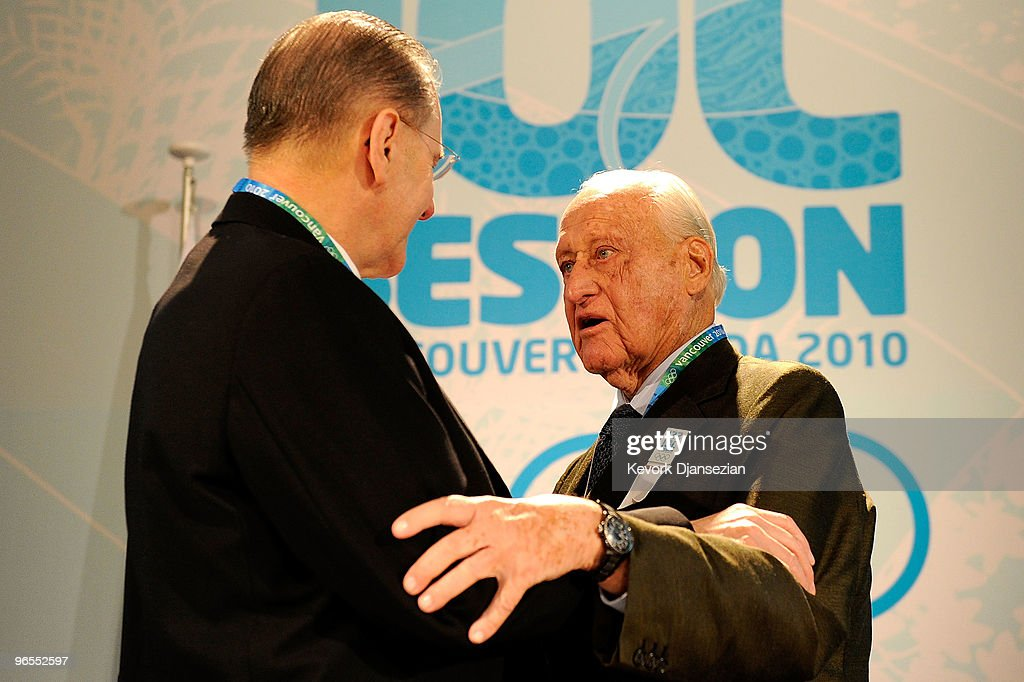 <a gi-track='captionPersonalityLinkClicked' href=/galleries/search?phrase=Jacques+Rogge&family=editorial&specificpeople=206143 ng-click='$event.stopPropagation()'>Jacques Rogge</a> the IOC President greets <a gi-track='captionPersonalityLinkClicked' href=/galleries/search?phrase=Joao+Havelange&family=editorial&specificpeople=552184 ng-click='$event.stopPropagation()'>Joao Havelange</a> the former FIFA President during the 122nd IOC Session ahead of the Vancouver 2010 Winter Olympics on February 10, 2010 in Vancouver, Canada.