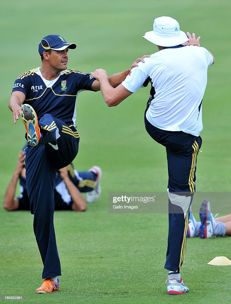 Jacques Rudolph and Morne Morkel during a South Africa National cricket team training session ahead of Graeme Smith's 100th Test as captain at Sandton City on January 29, 2013 in Johannesburg, South Africa.