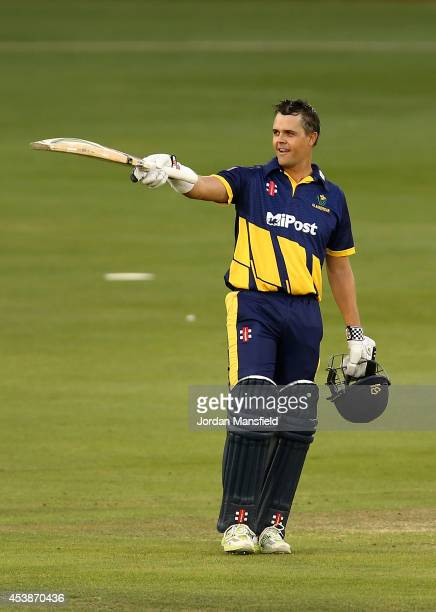 Jacques Rudolph of Glamorgan acknowledges the crowd after making his century during the Royal London OneDay Cup match between Sussex Sharks and...