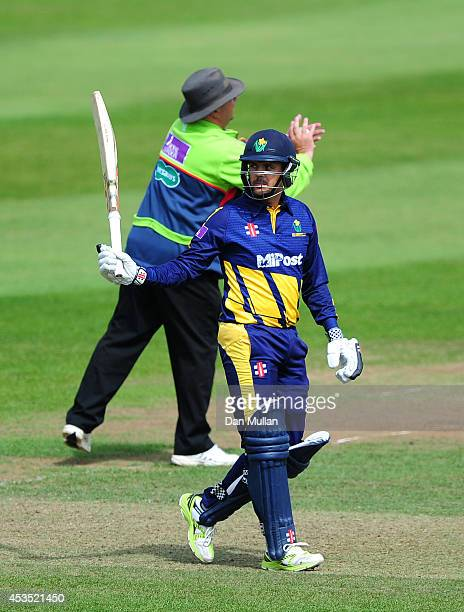 Jacques Rudolph of Glamorgan celebrates reaching his century during the Royal London OneDay Cup match between Somerset and Glamorgan at The County...