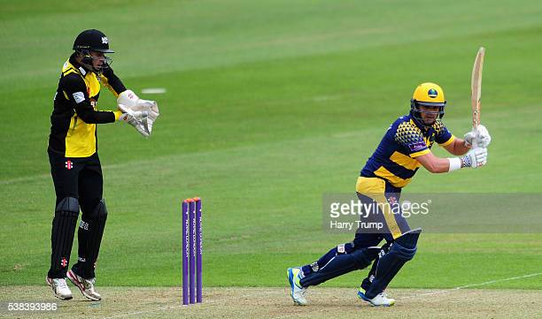 Jacques Rudolph of Glamorgan flicks the ball during the Royal London One Day Cup match between Glamorgan and Gloucestershire at the SWALEC Stadium on...