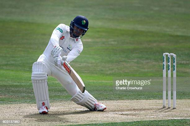 Jacques Rudolph of Glamorgan hits out during the Specsavers County Championship division two match between Essex and Glmaorgan at The Essex County...