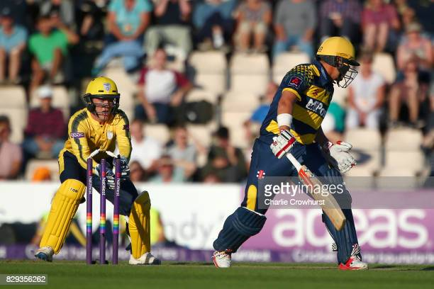 Jacques Rudolph of Glamorgan looks on as he is stumped by Calvin Dickinson of Hampshire off of the bowling of Mason Crane during the NatWest T20...