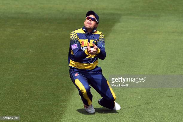 Jacques Rudolph of Glamorgan takes the catch to dismiss Stiaan van Zyl of Sussex for 96 during the Royal London OneDay Cup match between Sussex and...