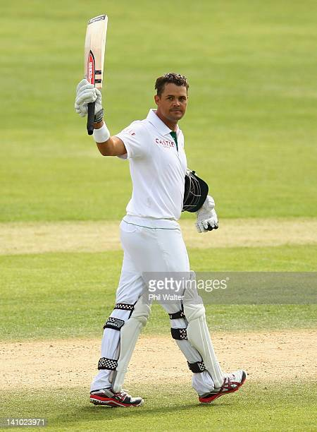 Jacques Rudolph of South Africa celebrates his century during day four of the First Test match between New Zealand and South Africa at the University...