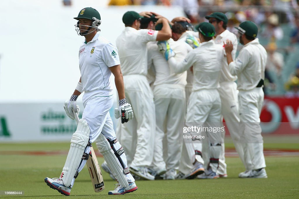 Jacques Rudolph of South Africa leaves the field after being dismissed during day three of the Second Test Match between Australia and South Africa at Adelaide Oval on November 24, 2012 in Adelaide, Australia.