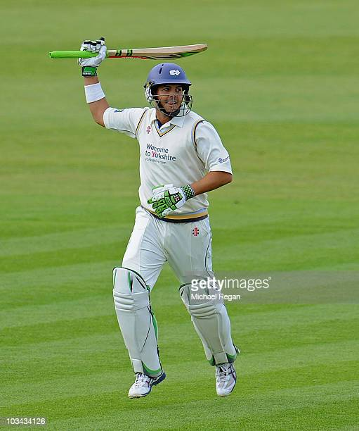 AUGUST 18 Jacques Rudolph of Yorkshire celebrates scoring a century during day 3 of the LV County Championship Division One match between Durham and...
