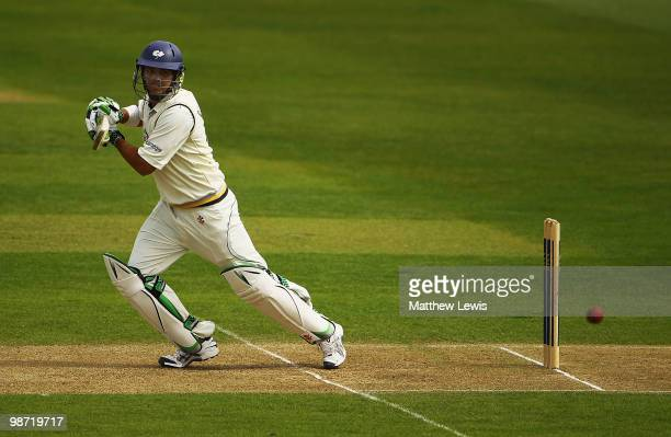 Jacques Rudolph of Yorkshire edges the ball towards the boundary during the LV County Championship match between Yorkshire and Durham at Headingley...