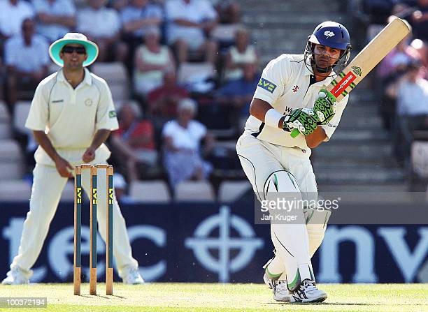 Jacques Rudolph of Yorkshire in action during the LV= County Championship Division One match between Hampshire and Yorkshire at The Rose Bowl on May...