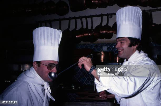 Jacques Santini of Saint Etienne and Thierry Roland during a photoshoot on November 01 1979 in Nantes France