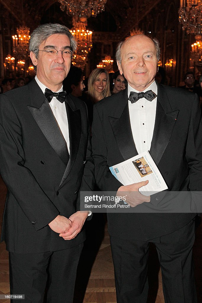 Jacques Toubon (R) and Alexis Brezet attend the gala dinner of Khayat's association 'AVEC', at Chateau de Versailles on February 4, 2013 in Versailles, France.