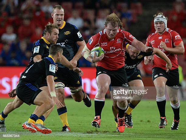 Jacques van Rooyen of the Lions attacks during the Super Rugby match between Emirates Lions and Hurricanes at Emirates Airline Park on February 13...