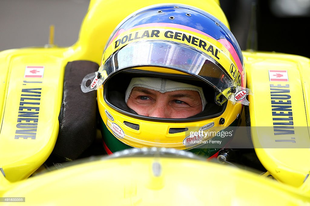 Jacques Villeneuve of Canada, driver of the #5 Dollar General Schmidt Peterson Motorsports Honda Dallara waits to qualify for the 98th Indianapolis 500 Mile Race on May 17, 2014 at the Indianapolis Motor Speedway in Indianapolis, Indiana.